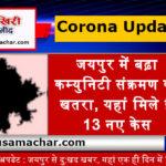 राजस्थान अपडेट : जयपुर से दु:खद खबर, यहां एक ही दिन में मिले 13 पॉजिटिव