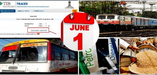 देशभर में 1 जून से एलपीजी, राशन कार्ड, रेलवे, इनकम टैक्स, पैट्रोल रेट सहित बदलने वाले हैं कई नियम
